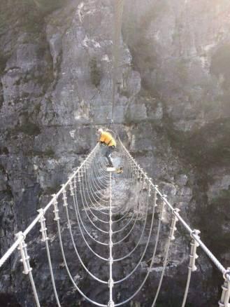 Test del ponte da parte dell'ideatore Franco Mucchietto
